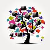 Фамильное дерев дерево памяти с поляроидными рамками фото Стоковое фото RF