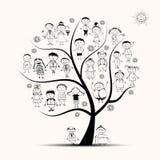 Фамильное дерев дерево, родственники, эскиз людей Стоковое Изображение RF