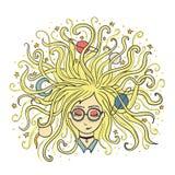 фантазер Мечты девушки с закрытыми глазами Белокурые волосы планеты и звезды Творческие процесс или раздумье Стоковые Фотографии RF