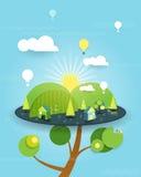 Фантазия иллюстрации дома на дереве на предпосылке голубого неба Стоковые Изображения