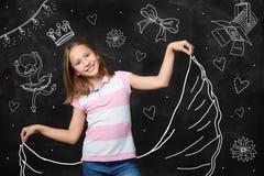 Фантазия маленькой девочки быть звездой Стоковые Фото