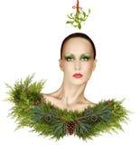 Фантазия моды рождества с омелой и составом праздника стоковая фотография