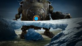 Фантазия научной фантастики, робот, планета чужеземца иллюстрация штока