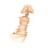 Фантастическая гора, рисуя с деревом фантазии в sepia Стоковые Изображения RF