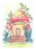Фантастическая иллюстрация с дом-грибом Стоковая Фотография RF