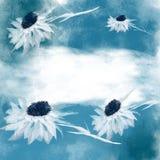 Фантастические белые цветки на голубой предпосылке, акварели Стоковое Изображение