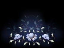 Фантастические голубые цветки на черном основании EPS10 Стоковая Фотография