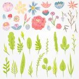 Фантастические листья и цветки Плоское constructuctor вектора Стоковые Фотографии RF