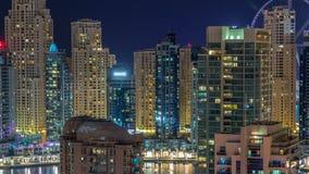 Фантастический горизонт крыши timelapse Марины Дубай сток-видео
