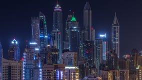 Фантастический горизонт крыши timelapse Марины Дубай видеоматериал