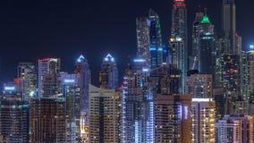 Фантастический горизонт крыши timelapse Марины Дубай акции видеоматериалы