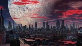 Фантастический город, огромная планета и UFO иллюстрация штока