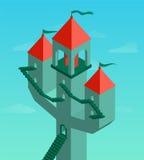 Фантастический замок на предпосылке бирюзы Стоковое Изображение