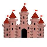 Фантастический замок рыцарей Иллюстрация шаржа плоская иллюстрация штока