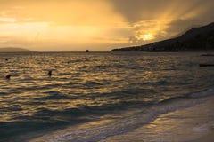 Фантастический заход солнца над Адриатическим морем Стоковые Фотографии RF