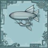 Фантастический дирижабль Предпосылка - рамка от деталей металла, железный механизм иллюстрация вектора