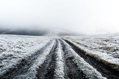 Фантастический ландшафт осени с заморозком Стоковые Фото