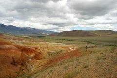 Фантастический марсианский ландшафт повреждает Красные горы Стоковая Фотография