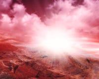 Фантастический марсианский ландшафт повреждает планету стоковая фотография rf