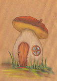 Фантастический оранжевый дом гриба стоковая фотография rf