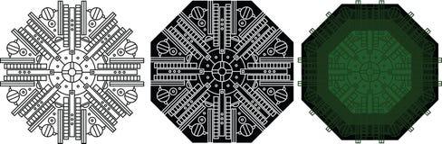 Фантастический орнамент геометрии для мандалы книжка-раскраски круглой иллюстрация штока