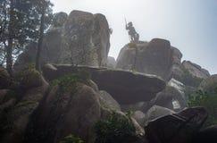 Фантастический рыцарь в силуэте статуи панцыря Стоковое Изображение RF
