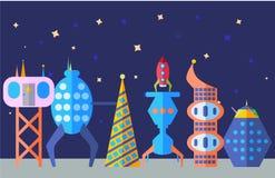 Фантастический современный комплект города в стиле шаржа Будущий город, внеземной город Стоковая Фотография RF