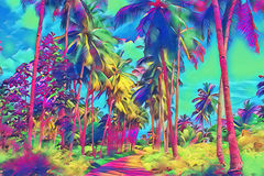 Фантастический тропический взгляд парка с пальмой Солнечный день на экзотическом острове Стоковые Изображения