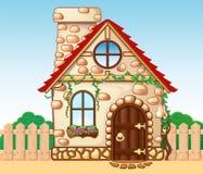 Фантастический уютный дом с деревянной загородкой иллюстрация вектора