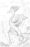 Фантастическое животное с головой птицы, телом льва Расцветка pag Стоковые Изображения