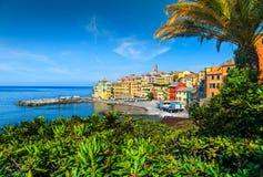 Фантастическое среднеземноморское побережье riviera с курортом Bogliasco, Лигурией, Италией, Европой стоковая фотография rf