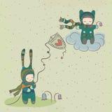 Фантастичная иллюстрация с характерами, муха праздника Стоковые Изображения RF