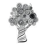 Фантастичное дерево с скручиваемостями Doodle тип также вектор иллюстрации притяжки corel Стоковая Фотография