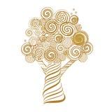 Фантастичное дерево с скручиваемостями Doodle тип также вектор иллюстрации притяжки corel Стоковые Изображения RF