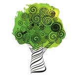Фантастичное дерево с скручиваемостями Doodle тип Эскиз ручки чернил Стоковое Изображение