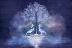 2 фантастичных цапли иллюстрация штока