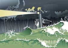 Фара в большой буре Стоковые Фото