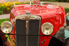 Фара красного винтажного автомобиля, MG d Тип, 1928 Стоковое Фото