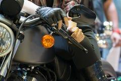 Фара мотоцикла сигнала в событии выставки автомобиля Стоковые Фотографии RF