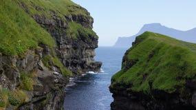 Фарерские острова, гавань спасения в Gjov стоковая фотография rf