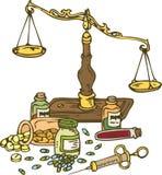 Фармацевтические масштабы и пилюльки Стоковые Изображения