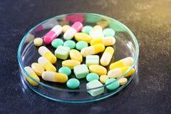 Фармацевтические пилюльки медицины в чашка Петри на таблице Стоковая Фотография RF