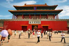 фарфор Пекин 06 06 2018 Ворота божественного могли, северные ворота запретного города в Пекин стоковые изображения