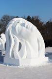 Фарфор Харбина стороны снега женщины Стоковая Фотография