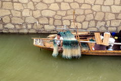 Фарфор Чанши: рыбацкая лодка под мостом Стоковые Изображения