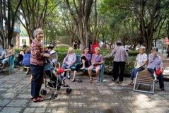 Фарфор Шэньчжэня: граждане отдыха в парке Стоковое фото RF