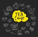 фарфор dishes свежее время чая клубник фарфора Свирли, кружки, чайник, торты, плюшки, чашки различных дизайнов Мел нарисованный с иллюстрация штока