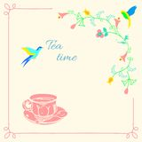 фарфор dishes свежее время чая клубник фарфора Стоковые Фото