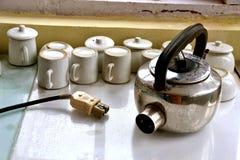 фарфор dishes свежее время чая клубник фарфора Стоковые Изображения RF