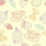фарфор dishes свежее время чая клубник фарфора бесплатная иллюстрация